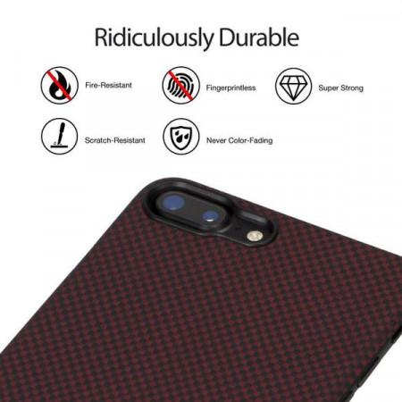 Чехол Pitaka MagEZ Case для iPhone 7 Plus шахматное плетение красно-черный , кевлар (арамид)