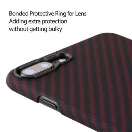 Чехол Pitaka MagEZ Case для iPhone 7 Plus красно-черный в полоску , кевлар (арамид)