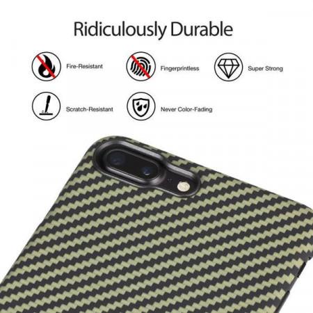 Чехол Pitaka MagEZ Case для iPhone 7 Plus зелено-черный в полоску , кевлар (арамид)