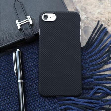 Чехол Pitaka MagEZ Case для iPhone 7 шахматное плетение черно-серый , кевлар (арамид)