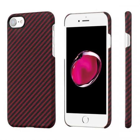 Чехол Pitaka MagEZ Case для iPhone 7 красно-черный в полоску , кевлар (арамид)