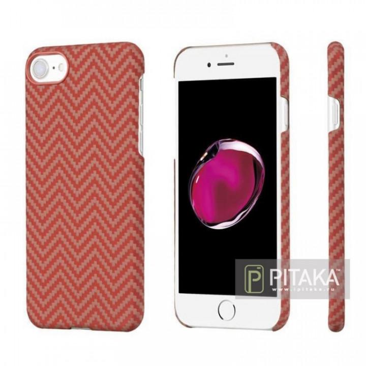 Чехол Pitaka MagEZ Case для iPhone 7 шахматное плетение красно-оранжевый , кевлар (арамид)