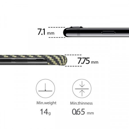 Чехол Pitaka MagEZ Case для iPhone 7 зелено-черный в полоску , кевлар (арамид)