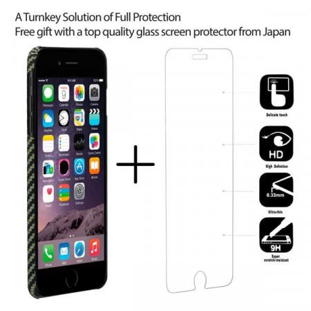 Чехол Pitaka MagEZ Case для iPhone 8 Plus черно-зеленый в полоску , кевлар (арамид)