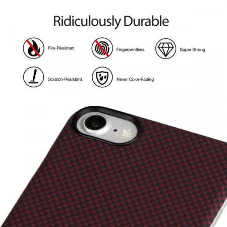 Чехол Pitaka MagEZ Case для iPhone 8 шахматное плетение красно-черный , кевлар (арамид)