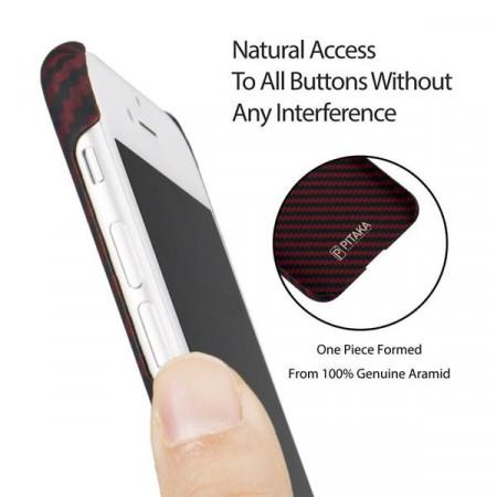 Чехол Pitaka MagEZ Case для iPhone 8 красно-черный в полоску , кевлар (арамид)