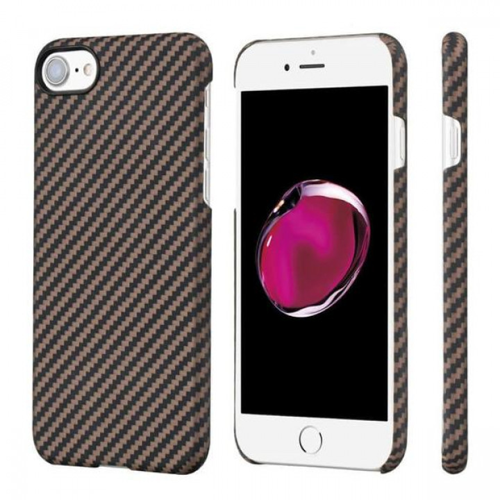 Чехол Pitaka MagEZ Case для iPhone 8 черно-коричневый в полоску , кевлар (арамид)