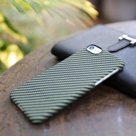 Чехол Pitaka MagEZ Case для iPhone 8 черно-зеленый в полоску , кевлар (арамид)