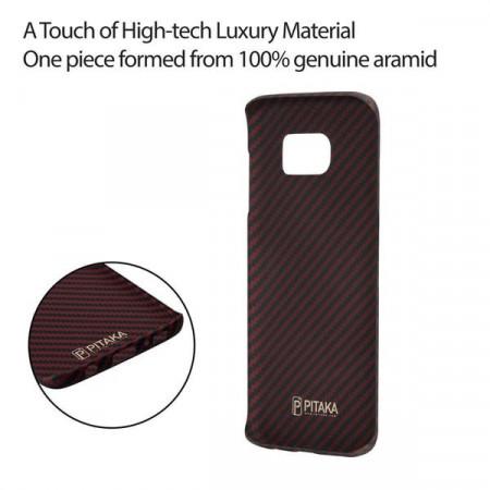 Чехол Pitaka MagEZ Case для Samsung Galaxy S7 Edge красно-черный в полоску , кевлар (арамид)
