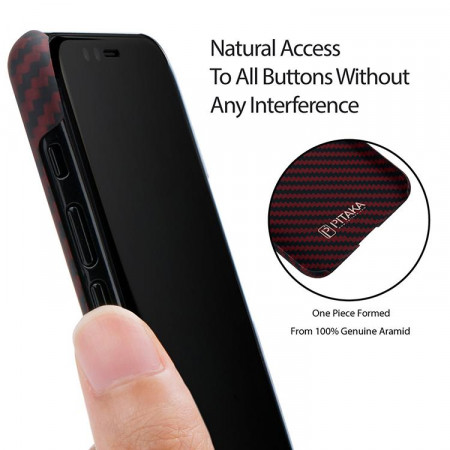 Чехол Pitaka MagEZ Case для iPhone X (10) черно-красный в полоску , кевлар (арамид)
