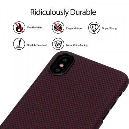 Чехол Pitaka MagEZ Case для iPhone X (10) шахматное плетение черно-красный  , кевлар (арамид)
