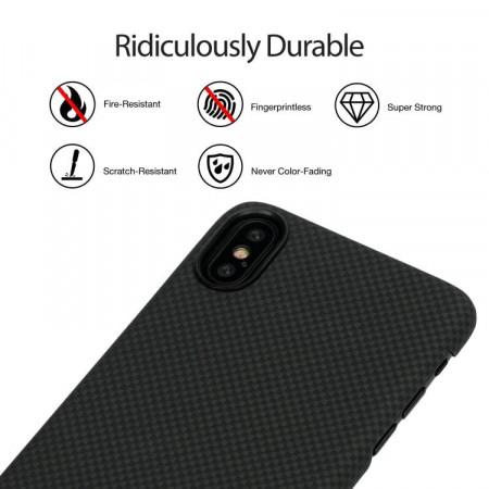 Чехол Pitaka MagEZ Case для iPhone X (10) шахматное плетение черно-серый , кевлар (арамид)