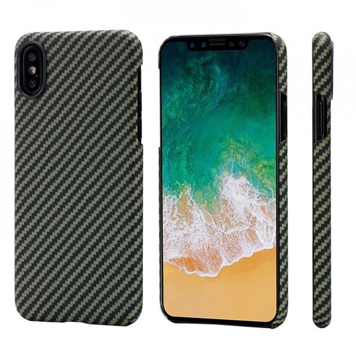 Чехол Pitaka MagEZ Case для iPhone X (10) черно-зеленый в полоску , кевлар (арамид)