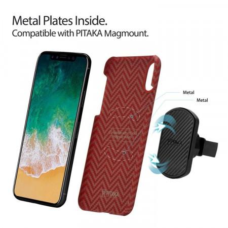 Чехол Pitaka MagEZ Case для iPhone X (10) красно-оранжевый в полоску , кевлар (арамид)