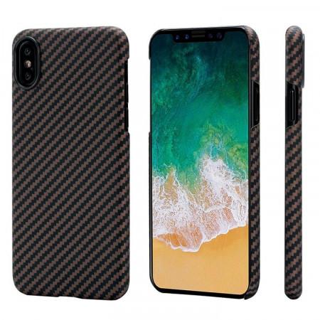 Чехол Pitaka MagEZ Case для iPhone X (10) черно-коричневый в полоску , кевлар (арамид)
