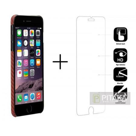 Чехол Pitaka MagEZ Case для iPhone 8 Plus красно-оранжевый в ромбик , кевлар (арамид)