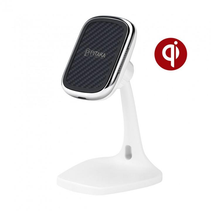 Настольное беспроводное зарядное устройство Pitaka MagEZ Mount Qi Desktop. белый