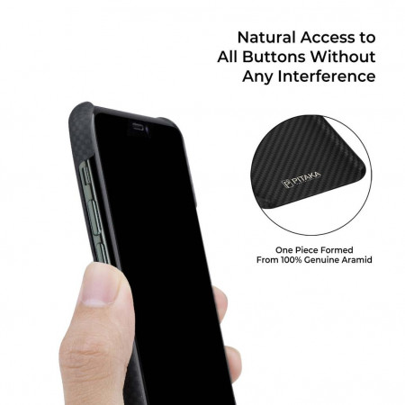 Чехол Pitaka для Apple iPhone 11 Pro Max, черно-серый ( шахматное плетение ) , кевлар (арамид)