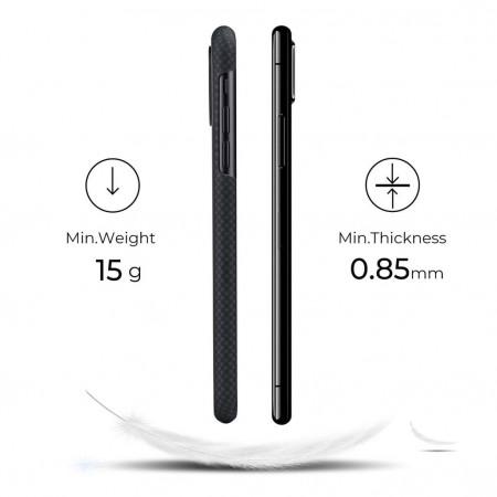 Чехол Pitaka для Apple iPhone 11, черно-серый (мелкое плетение) , кевлар (арамид)
