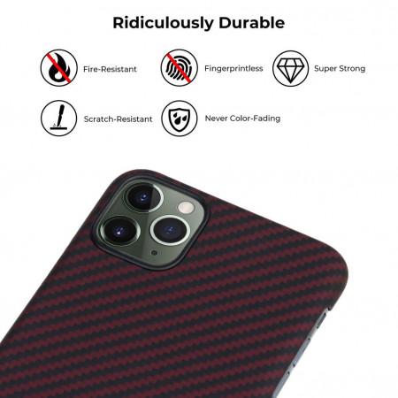 Чехол Pitaka для Apple iPhone 11 Pro Max, черно-красный , кевлар (арамид)