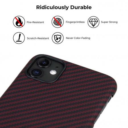 Чехол Pitaka для Apple iPhone 11, черно-красный , кевлар (арамид)