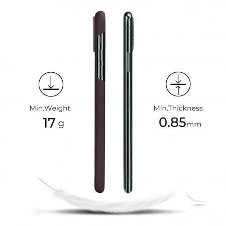 Чехол Pitaka для Apple iPhone 11 Pro Max, черно-красный (шахматное плетение) , кевлар (арамид)