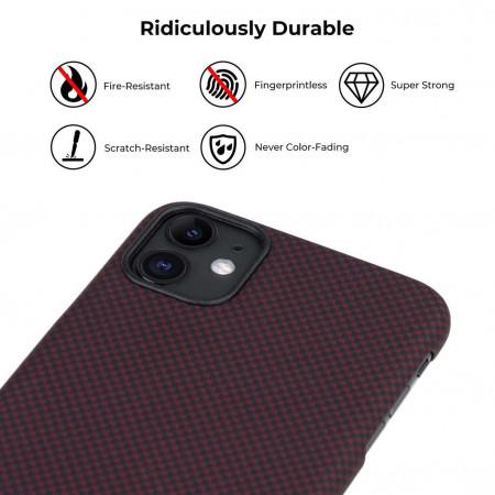 Чехол Pitaka для Apple iPhone 11, черно-красный (мелкое плетение) , кевлар (арамид)
