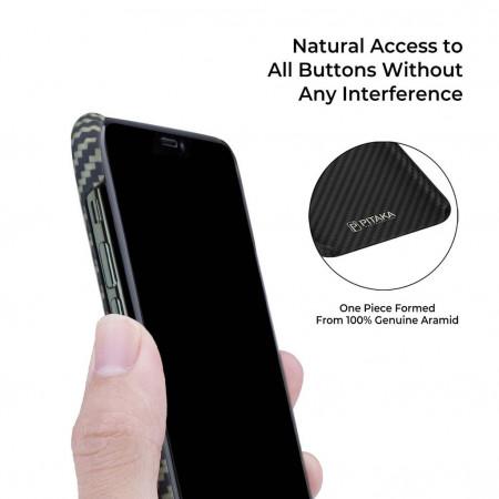 Чехол Pitaka для Apple iPhone 11 Pro, черно-зеленый , кевлар (арамид)