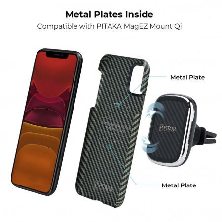 Чехол Pitaka для Apple iPhone 11, черно-зеленый , кевлар (арамид)