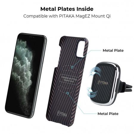Чехол Pitaka для Apple iPhone 11 Pro Max, черно-коричневый , кевлар (арамид)