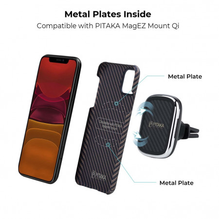 Чехол Pitaka для Apple iPhone 11, черно-коричневый , кевлар (арамид)