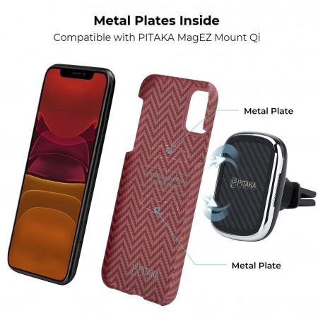 Чехол Pitaka для Apple iPhone 11, красно-оранжевый , кевлар (арамид)
