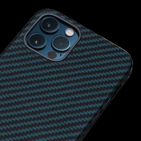 """Чехол Pitaka MagEZ Case для iPhone 12/12 Pro 6.1"""", черно-синий, кевлар (арамид)"""