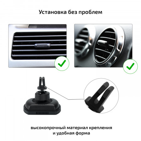 Автомобильный комплект держателей Pitaka с зарядкой MagEZ netic Mount Qi с присоской и держателем для воздуховода