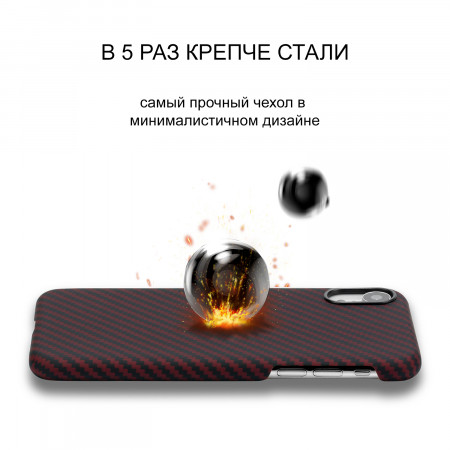 Чехол PITAKA MagEZ Case для iPhone Xr черно-красный в полоску , кевлар (арамид)