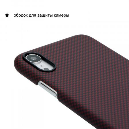 Чехол PITAKA MagEZ Case для iPhone Xr шахматное плетение черно-красный , кевлар (арамид)