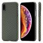 Чехол PITAKA MagEZ Case для iPhone Xs черно-зеленый в полоску , кевлар (арамид)