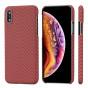Чехол PITAKA MagEZ Case для iPhone Xs красно-оранжевый в полоску , кевлар (арамид)