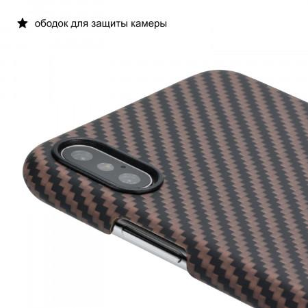 Чехол PITAKA MagEZ Case для iPhone Xs Max черно-коричневый в полоску , кевлар (арамид)