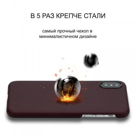 Чехол PITAKA MagEZ Case для iPhone Xs шахматное плетение черно-красный , кевлар (арамид)