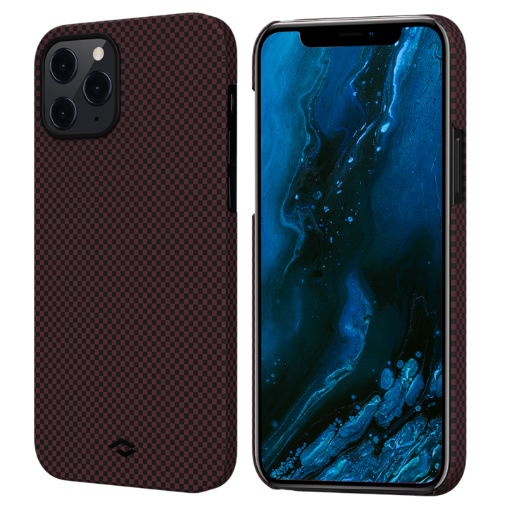 """Чехол Pitaka MagEZ Case для iPhone 12 Pro Max 6.7"""", черно-красный (шахматное плетение), кевлар (арамид)"""