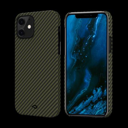 "Чехол Pitaka MagEZ Case для iPhone 12 mini 5.4"", черно-зеленый, кевлар (арамид)"