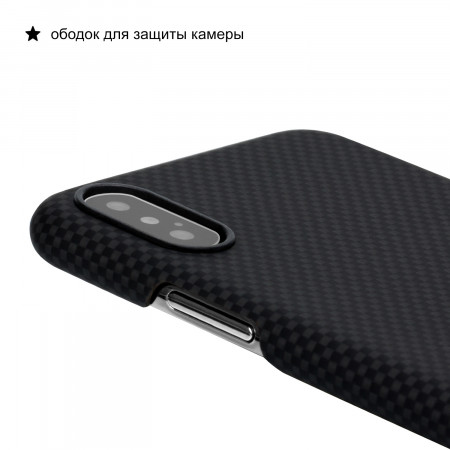 Чехол PITAKA MagEZ Case для iPhone Xs Max черно-серый шахматное плетение , кевлар (арамид)