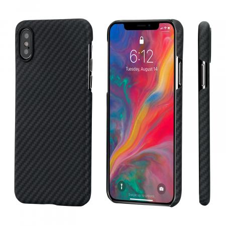 Чехол PITAKA MagEZ Case для iPhone Xs Max черно-серый в полоску , кевлар (арамид)