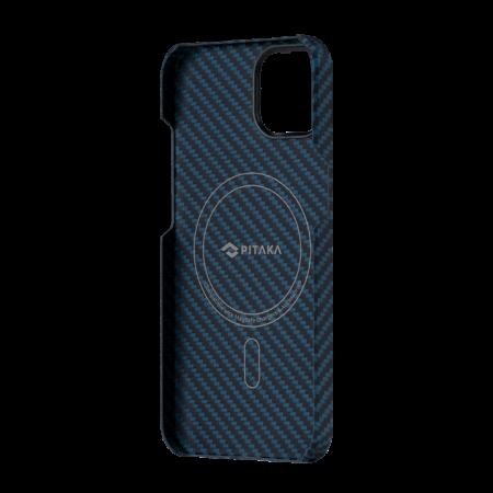 """Чехол Pitaka MagEZ Case 2 для iPhone 13 mini 5.4"""", черно-синий, кевлар (арамид)"""