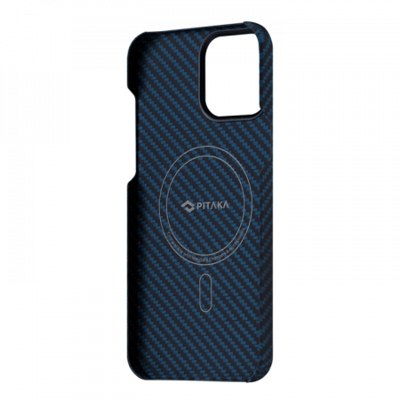 """Чехол Pitaka MagEZ Case 2 для iPhone 13 Pro 6.1"""", черно-синий, кевлар (арамид)"""